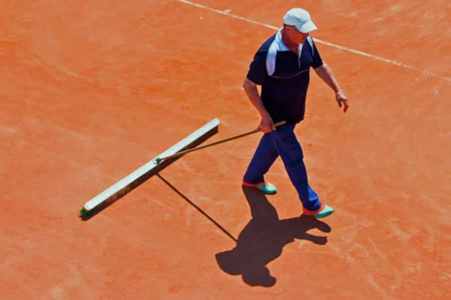 Drag mat and drag broom - clay court maintenance.